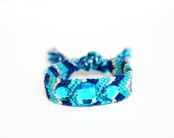 Turquoise Friendship Bracelet With Rhinestones Bohemian Jewelry Blue Rhinestone Friendship Bracelet Arm Candy Best Friend Gift Boho Chic