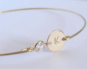 PERSONALIZED initial bangle - Bridal gold initial crystal bracelet - Bridesmaids gift - Personalized jewelry - Custom initial bangle