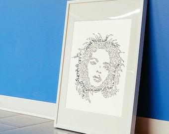 Lauryn Hill hand crafted micrography lyrics print