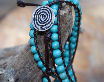 Turquoise 3-Wrap Leather Bracelet w/Must Love Journey Signature Clasp