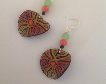 Polymer clay, dangle earrings, lime green, coral, black,
