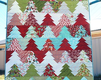"Zigzag Christmas Tree Quilt Pattern (PDF) - ""Wander Through the Woods"" - Or camping, forest or outdoors design. Lap size & mini quilt."