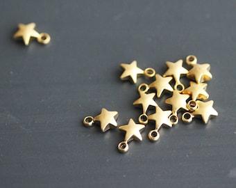 P1-811-S-MG] Star / 5mm / Matt Gold plated / Pendant / 4 pieces