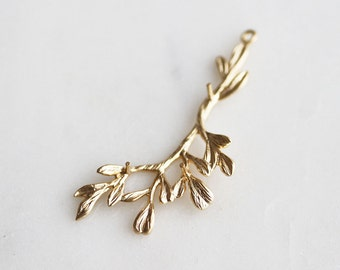 P1-324-MG] Leaf Branch Twig / 18 x 41mm / Matt Gold plated / Pendant / 2 piece(s)