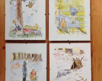 Winnie the Pooh. Watercolour and pen drawings