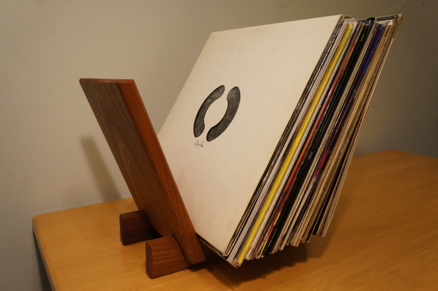 Solid Sapele Wood Lp Record Holder 40 Record Capacity Hand