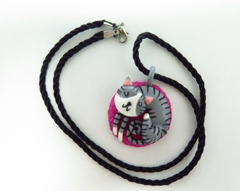 Handmade Polymer Clay Sleeping Cat Pendant