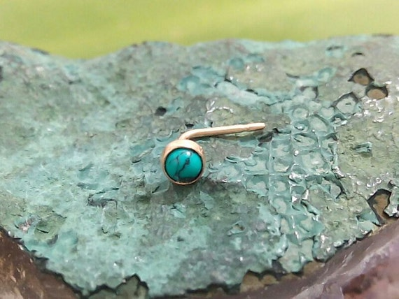 GOLD STUD turquoise stone nose stud 14 k gold filled nose screw body jewelry nose stud gold studs