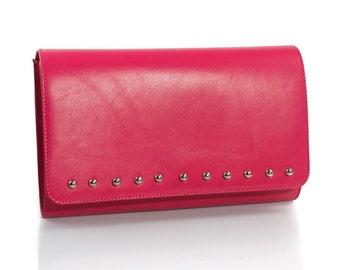 Punk Diva Pink Leather Clutch Bag
