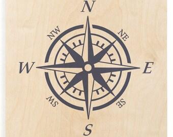 Compass Wood Print - Wooden Wall Decor, Nautical Wood, Wood Art Print,  Compass Sign, Nautical Compass, Sailing Decor, Compass Wall Art