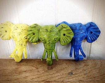 Elephant hooks / wall hooks / animal hooks / animal nursery / key hooks / cast iron hooks / towel hooks / bathroom hooks / trio of hooks