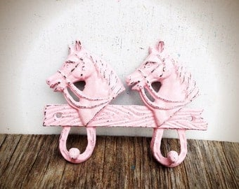 BOLD pastel baby pink shabby chic horse double wall hook // country cottage rustic // coat towel robe hook // western kids cowboy