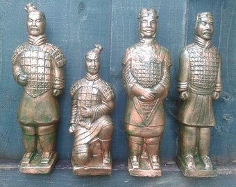 Set of 4 Terracotta Chinese Warriors sold Individually or as a group or 4 - Hand cast and Painted Frost Proof