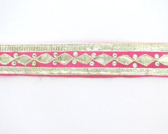Traditional Ethnic handmade in India Bright Pink Fuchsia Lace/Trim with Gota Patti Border work for Sari/Curtain/Dupatta/Scrapbook- 1 yard