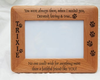 personalized photo frame engraved wood frame dog lover gift pet loss frame - Engraved Picture Frame