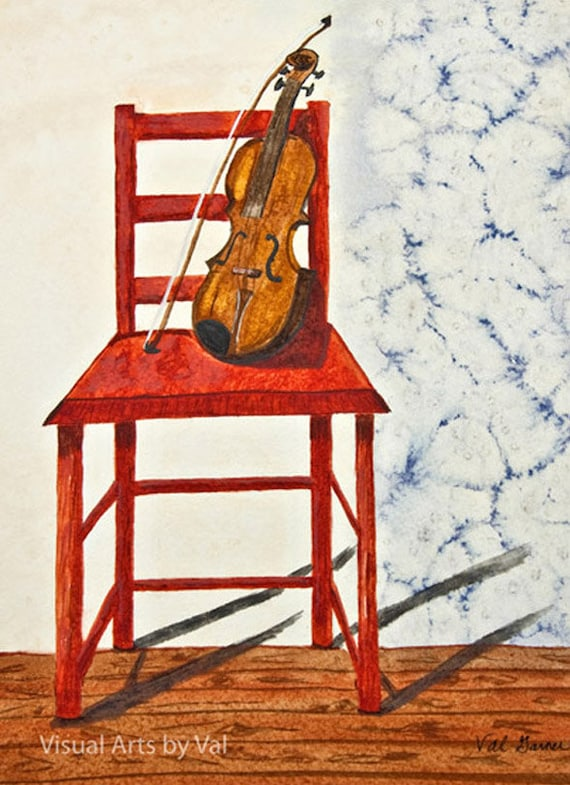 Watercolor Painting 'A Violin in Repose' Giclee Professionally Printed on Watercolor Paper
