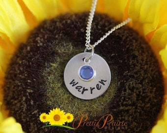 Name Disc Jewelry - Everyday Children's Necklace - Dainty Necklace with Birthstone Crystal - Hand Stamped Name Necklace - Kid's Jewelry