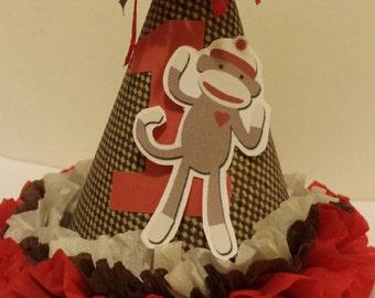 1st Birthday Boy  Girl Sock Monkey Party Hat