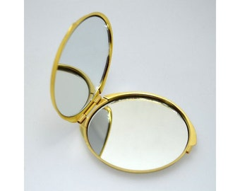 mirror round compact, metal, accessories