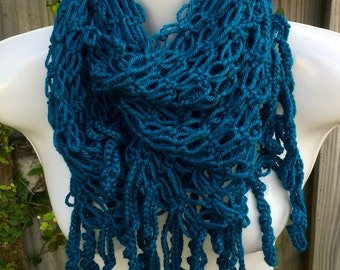 Crochet infinity Scarf - Teal or White