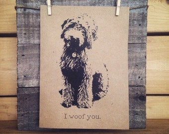 Goldendoodle Card / Dog Card / I Woof You / I Love You Card