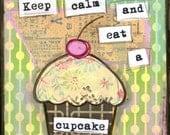 "Whimsical Cupcake Art, Mixed Media Art, Folk Art, Cake Art: Card, Magnet, Bookmark, Notebook, Print or Mounted Print ""Keep Calm Cupcake"""
