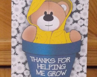Personalised thank you flower pot card for teachers.