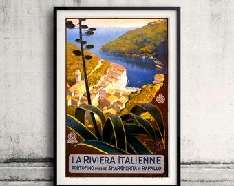Italian Riviera, travel poster 1920 vintage travel poster Fine Art Glicée Poster Digital Wall art Illustration Print Decorative - SKU 0006