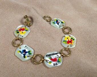 Vintage Goldtone Hagerstown, MD Jula Floral Bracelet, Length 6.5''