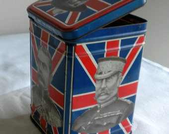 Boer war, tin tea caddy, 60s & 70s memorabilia, English tea tin. union jack, London Dodo designs, vintage kitchen,
