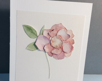 pink rose: elegant paper sculpture rose greeting card