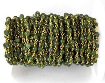 3 Feet Taiwan Green Jade Smooth Rosary Beaded chain 4mm 24k Gold Plated Beads