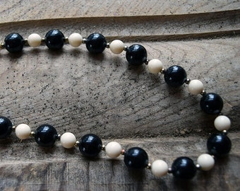 Vintage Black & White Bauble Necklace