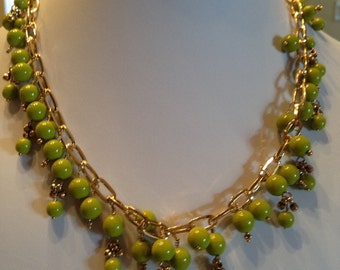 Apple Green and Gold Necklace
