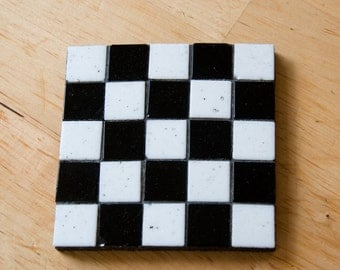 Handmade chessboard checked mosaic coaster country style