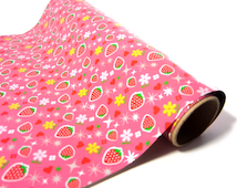 Pink Strawberry Tin Foil // Miniature Kawaii Berry Decorative Aluminum Foil Paper