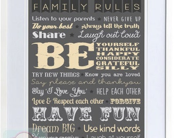 Family Rules Typography Printable - Digital PDF File