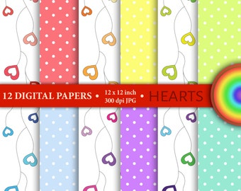 "12 Digital papers set ""HEART&DOTS"", scrapbook paper pack, background,rainbow colors, hearts, love,"