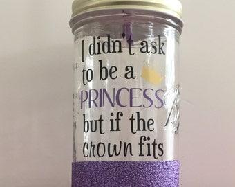 Princess Mason Jar/ Glitter Dipped Mason Jar/ Customized Mason Jar