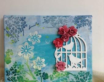 Bird Flower Mixed Media Canvas Bookcase Art 2016 Trends Nursery Decor