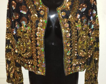 Lillie Rubin Handbeaded 100% Silk Sequins Evening Jacket Size Medium