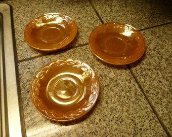 Vintage Fire King Peach Luster Ware Saucers Laurel Leaf Set of 3 Free Shipping