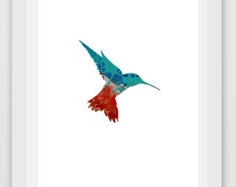 Hummingbird Print,  Hummingbird Art, Printable Wall Art, Nursery Decor, Instant Download, Modern wall Art, Bird Print