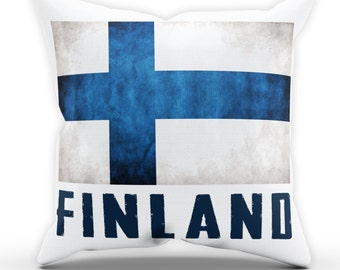 Finland Flag Pillow Cushion Cover Case Present Gift Bed Birthday Home Country Fan Nation National Finns Sport Fan Finnish