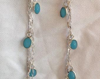Long sterling silver earrings with gemstone drops
