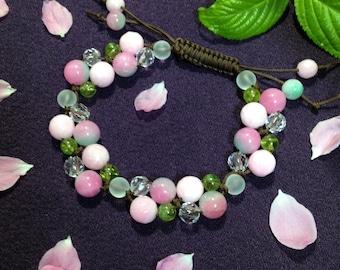 Cherry Blossom flower macrame bracelet