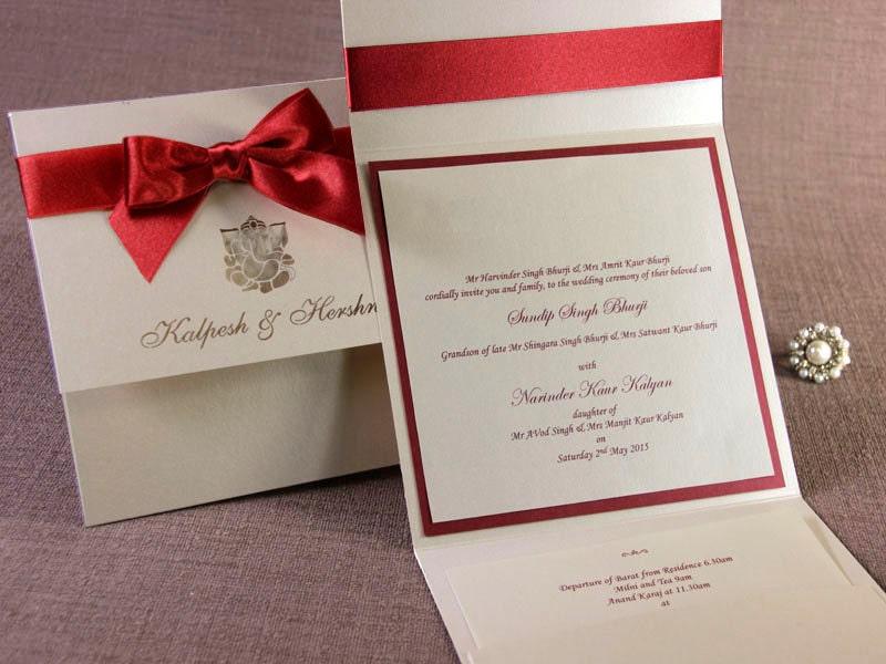 Luxury Red Bow Ganesha Overlap Indian Hindu Asian Wedding
