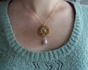 Gold filigree flower necklace with pearls on 16 inch chain