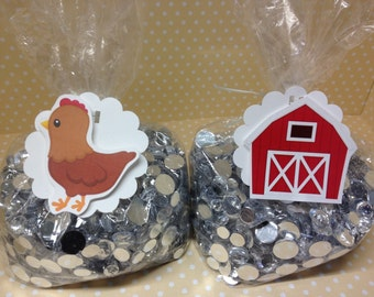 Barn on a Farm Animals Party or Baby Shower Candy or Favor Bags with Tags