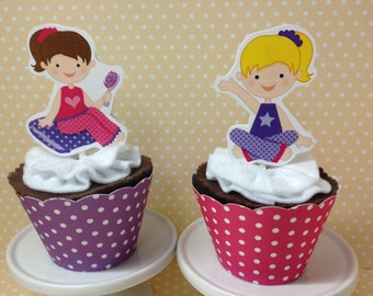 Sleepover Slumber Party Cupcake Topper Decorations - Set of 10